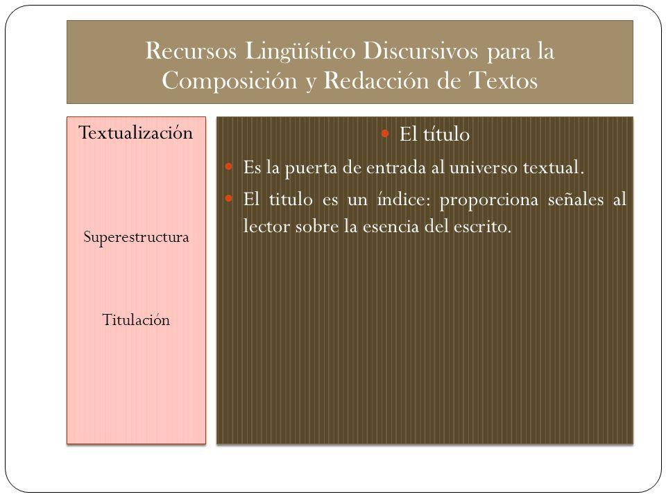Recursos Lingüístico Discursivos para la Composición y Redacción de Textos