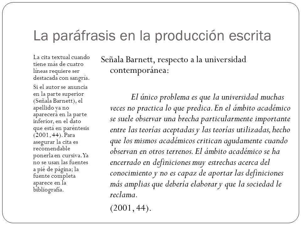 La paráfrasis en la producción escrita