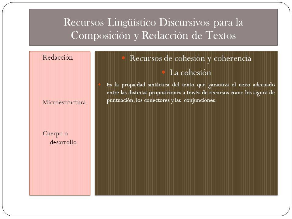 Recursos de cohesión y coherencia