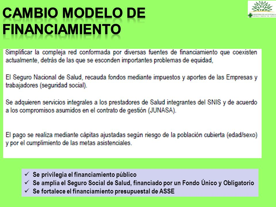 CAMBIO MODELO DE FINANCIAMIENTO