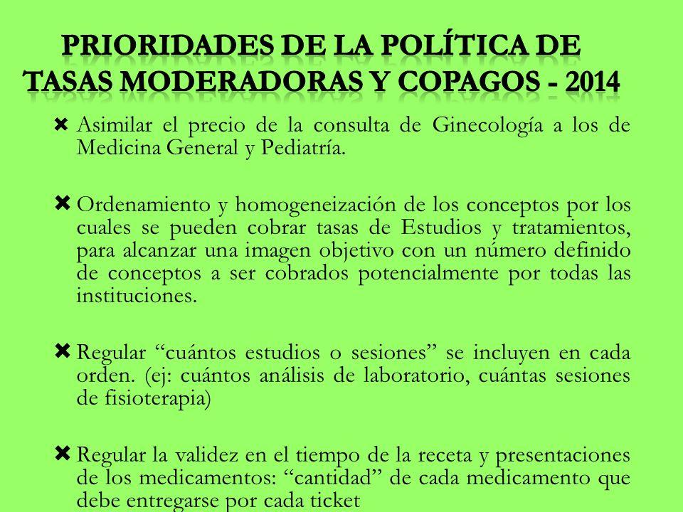 Prioridades de la Política de Tasas Moderadoras y Copagos - 2014