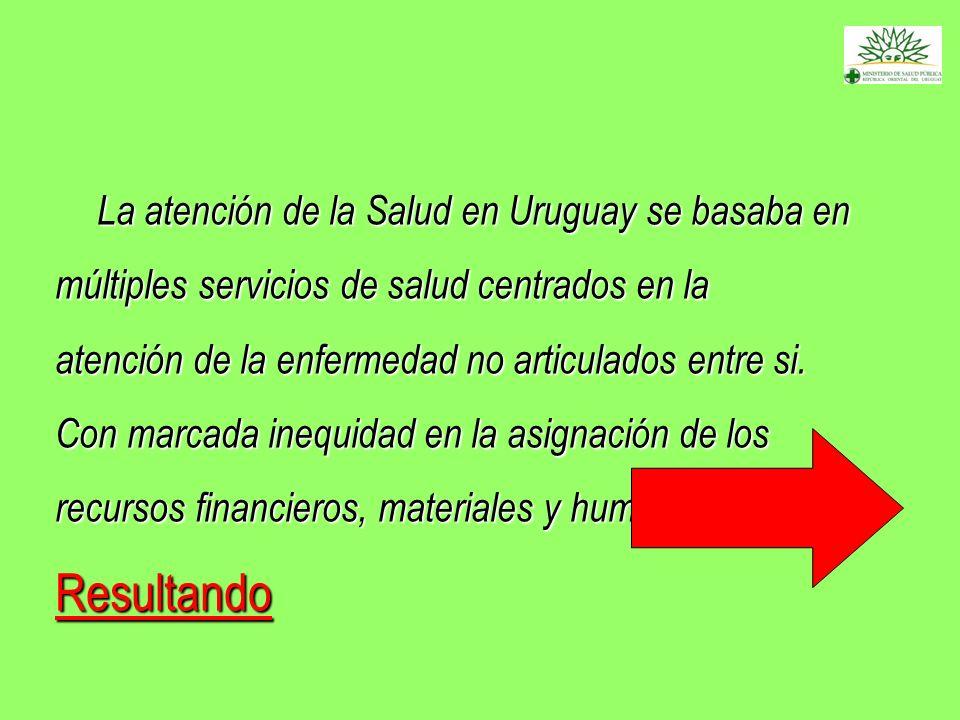 La atención de la Salud en Uruguay se basaba en múltiples servicios de salud centrados en la atención de la enfermedad no articulados entre si. Con marcada inequidad en la asignación de los recursos financieros, materiales y humanos , Resultando