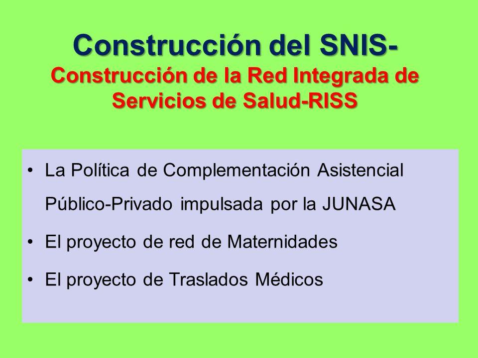 Construcción del SNIS- Construcción de la Red Integrada de Servicios de Salud-RISS