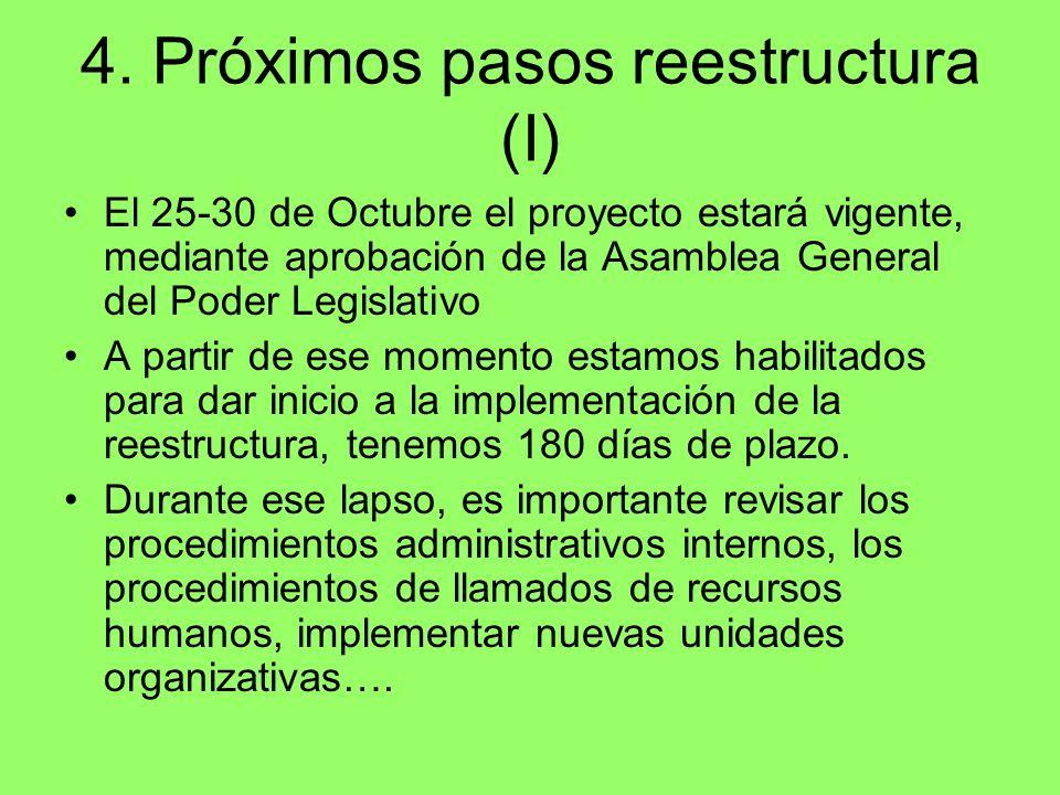 4. Próximos pasos reestructura (I)
