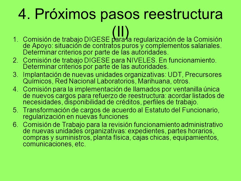 4. Próximos pasos reestructura (II)