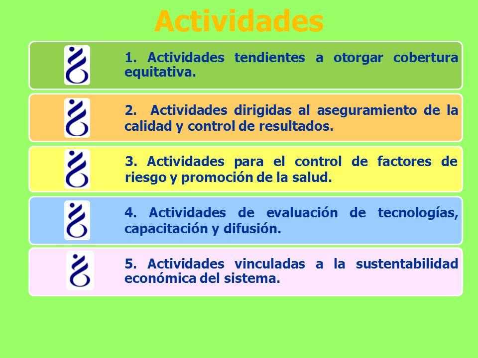 Actividades 1. Actividades tendientes a otorgar cobertura equitativa.
