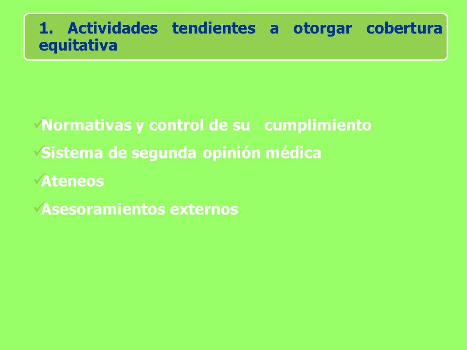 1. Actividades tendientes a otorgar cobertura equitativa