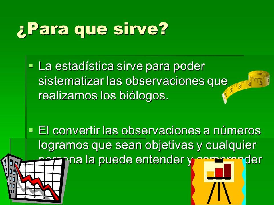 ¿Para que sirve La estadística sirve para poder sistematizar las observaciones que realizamos los biólogos.