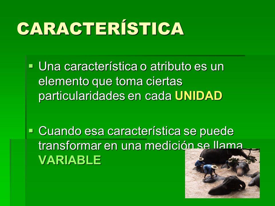CARACTERÍSTICA Una característica o atributo es un elemento que toma ciertas particularidades en cada UNIDAD.