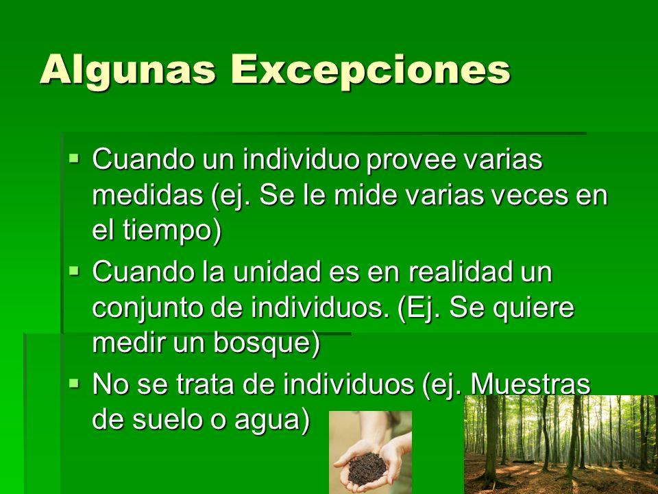 Algunas Excepciones Cuando un individuo provee varias medidas (ej. Se le mide varias veces en el tiempo)