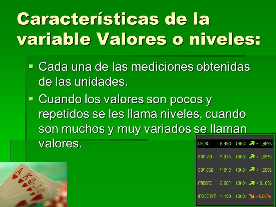 Características de la variable Valores o niveles: