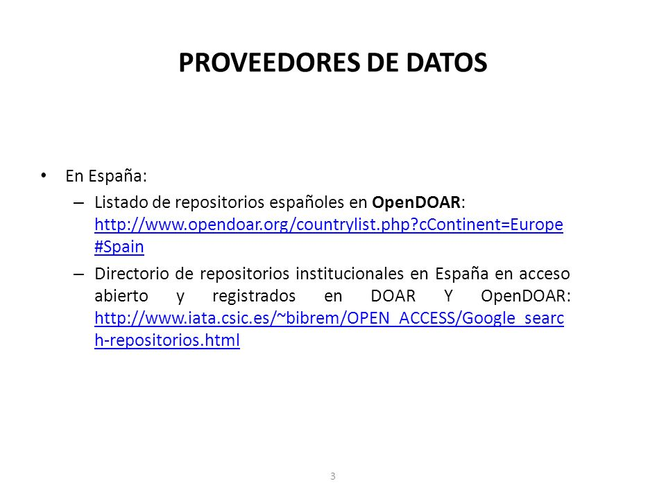PROVEEDORES DE DATOS En España: