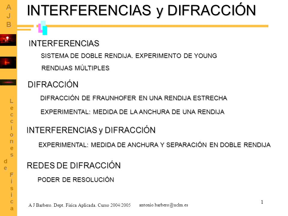 INTERFERENCIAS y DIFRACCIÓN