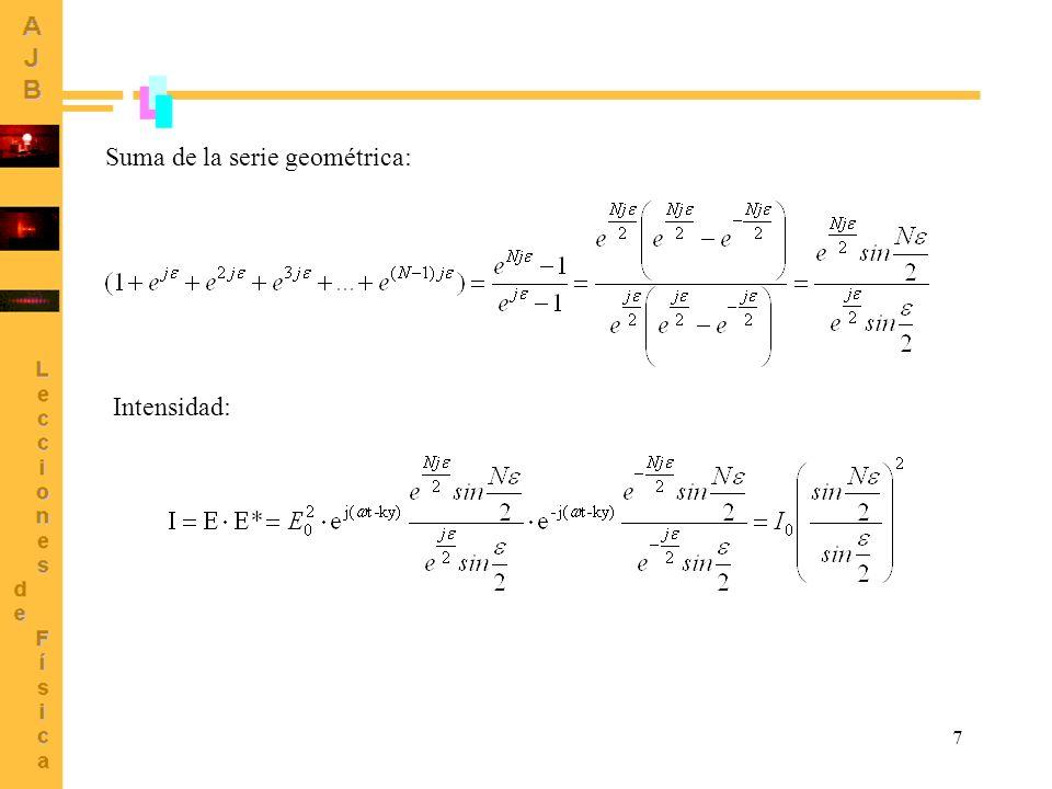 Suma de la serie geométrica:
