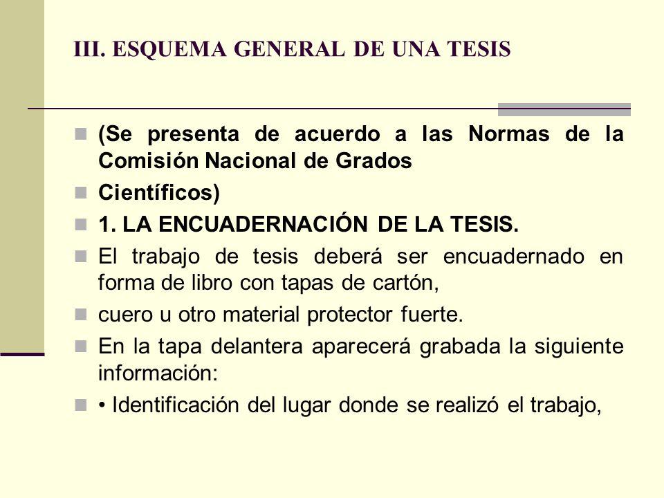 III. ESQUEMA GENERAL DE UNA TESIS
