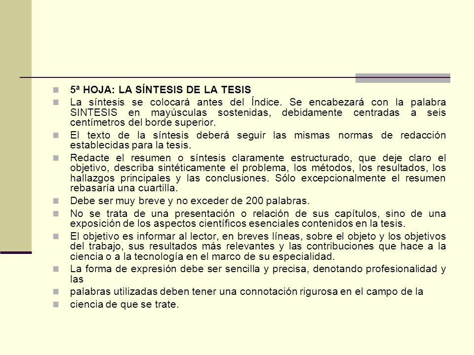 5ª HOJA: LA SÍNTESIS DE LA TESIS