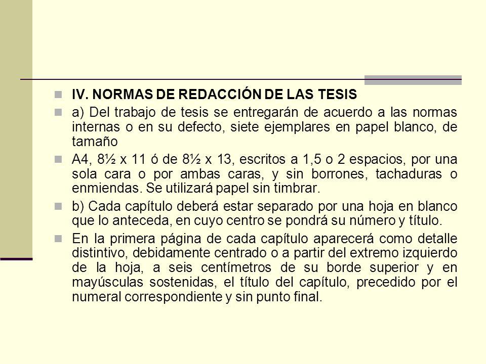 IV. NORMAS DE REDACCIÓN DE LAS TESIS