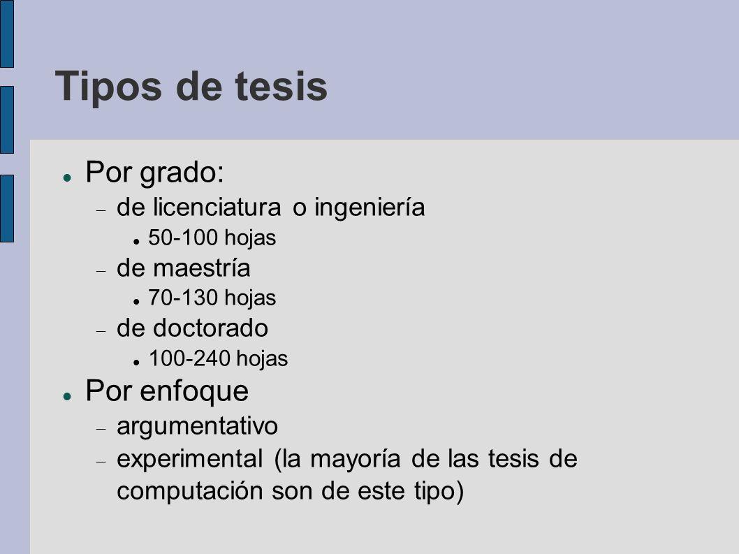 Tipos de tesis Por grado: Por enfoque de licenciatura o ingeniería