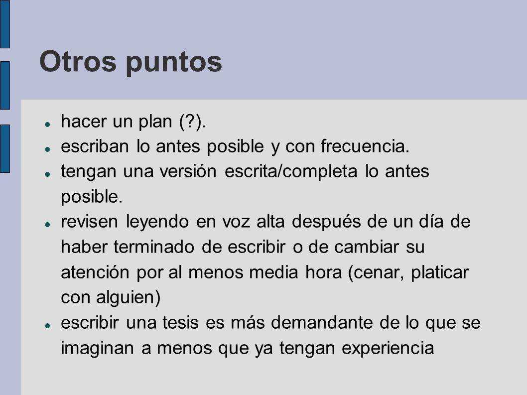 Otros puntos hacer un plan ( ).