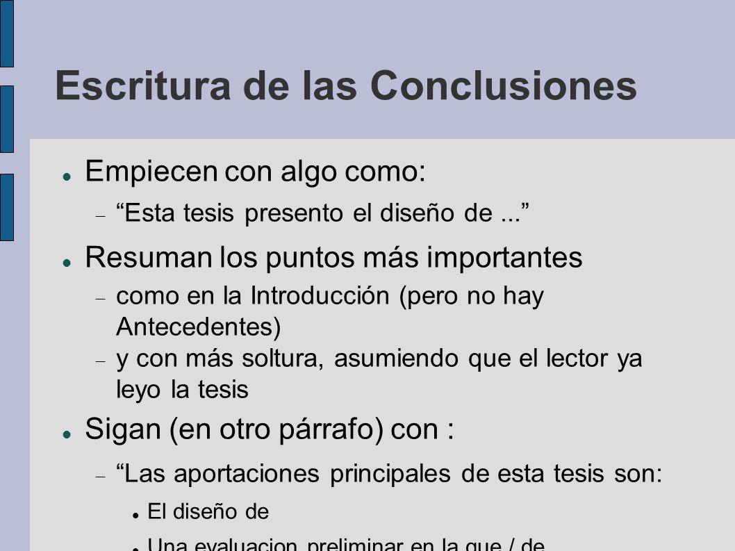 Escritura de las Conclusiones