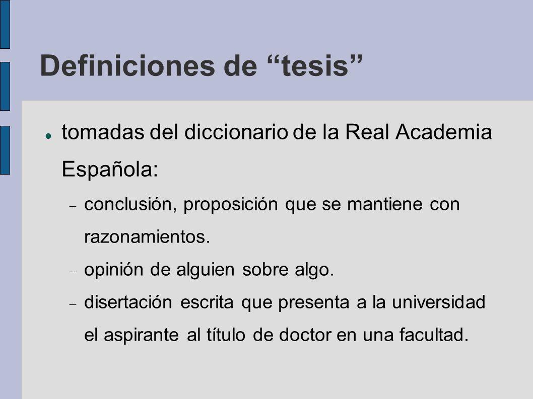 Definiciones de tesis