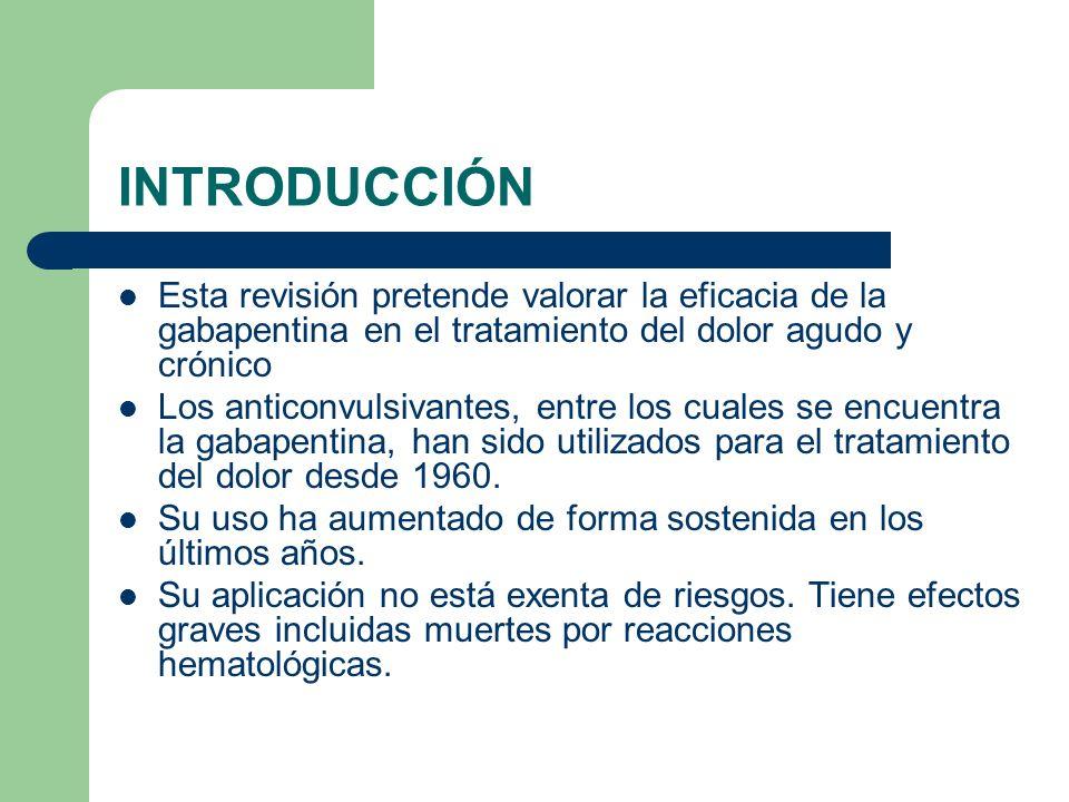 INTRODUCCIÓN Esta revisión pretende valorar la eficacia de la gabapentina en el tratamiento del dolor agudo y crónico.