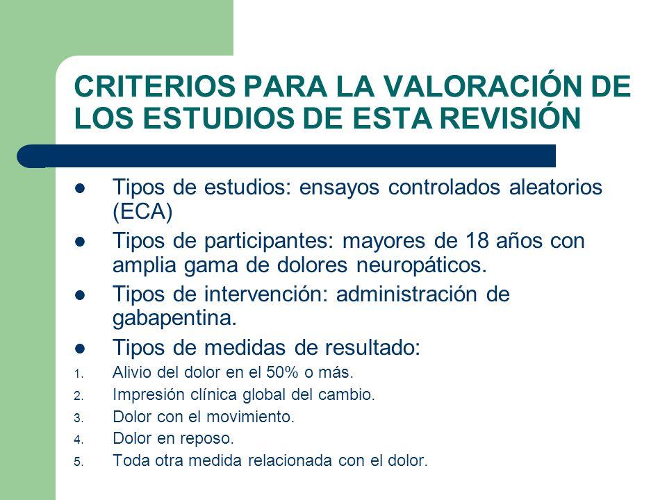 CRITERIOS PARA LA VALORACIÓN DE LOS ESTUDIOS DE ESTA REVISIÓN
