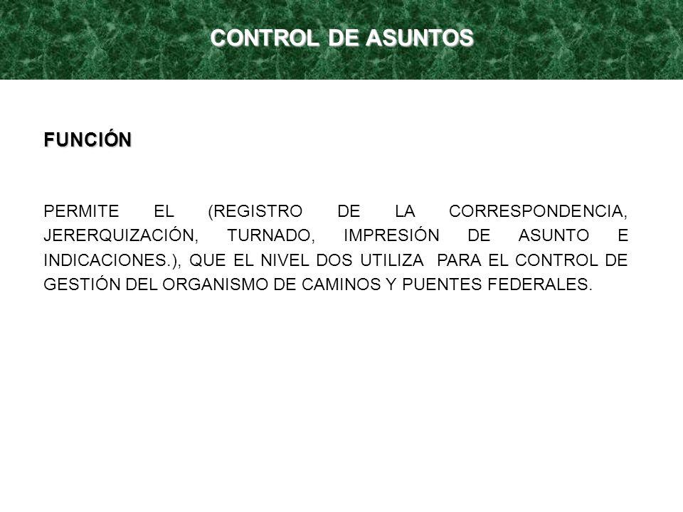 CONTROL DE ASUNTOS FUNCIÓN