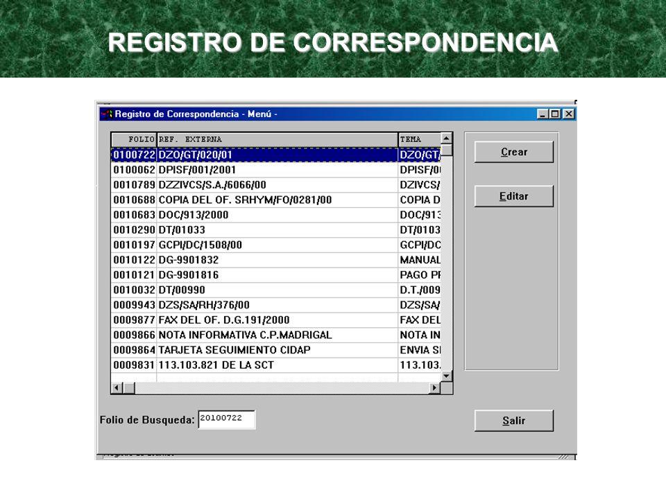 REGISTRO DE CORRESPONDENCIA