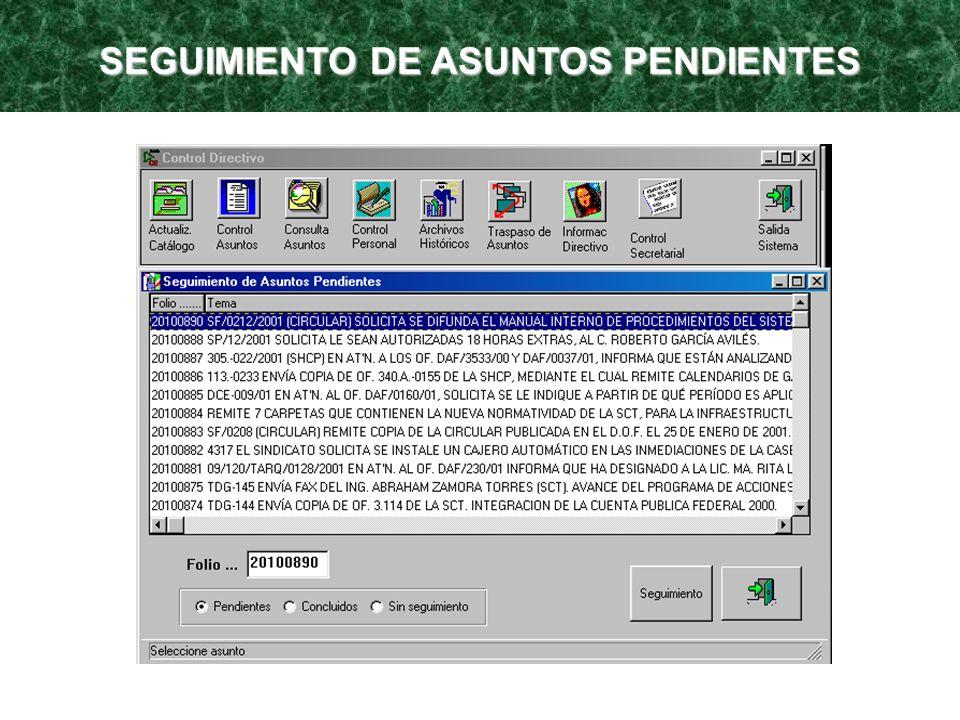SEGUIMIENTO DE ASUNTOS PENDIENTES
