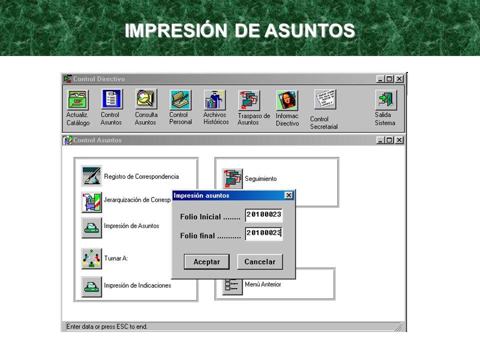 IMPRESIÓN DE ASUNTOS