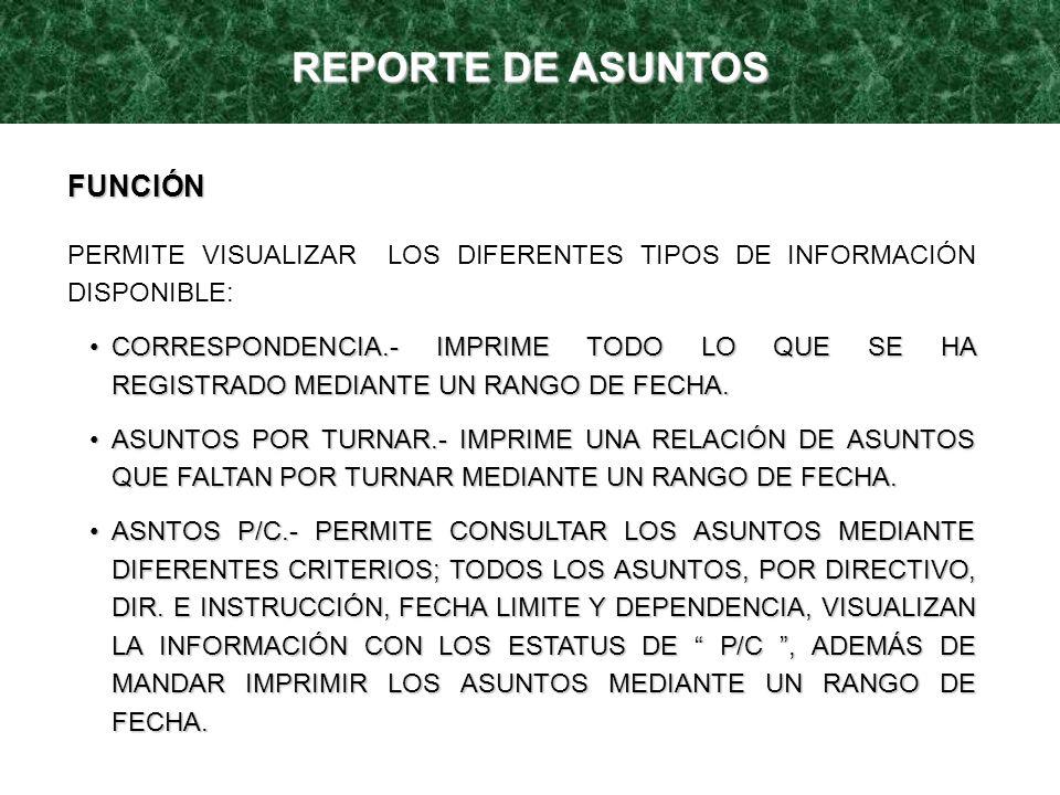 REPORTE DE ASUNTOS FUNCIÓN