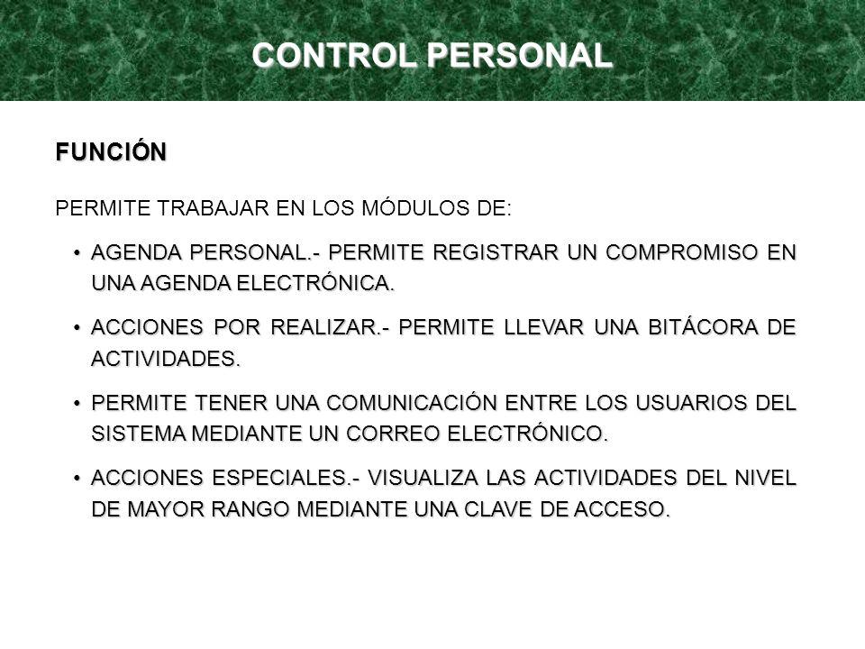 CONTROL PERSONAL FUNCIÓN PERMITE TRABAJAR EN LOS MÓDULOS DE: