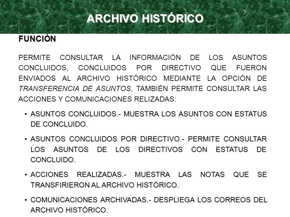 ARCHIVO HISTÓRICO FUNCIÓN