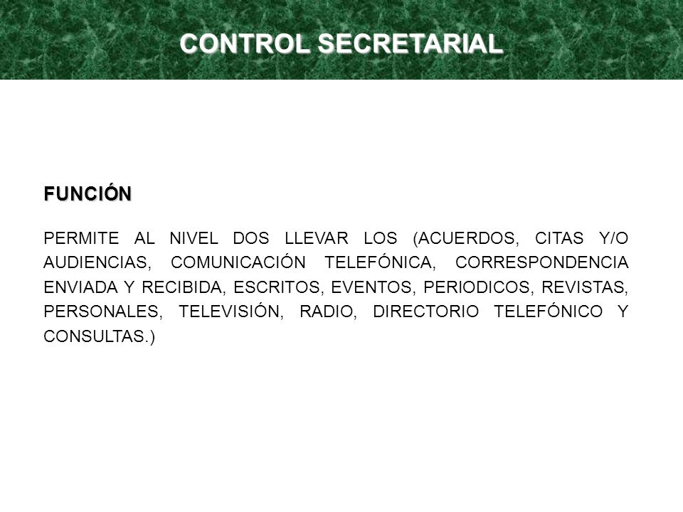 CONTROL SECRETARIAL FUNCIÓN