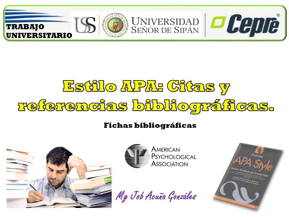 Estilo APA: Citas y referencias bibliográficas.