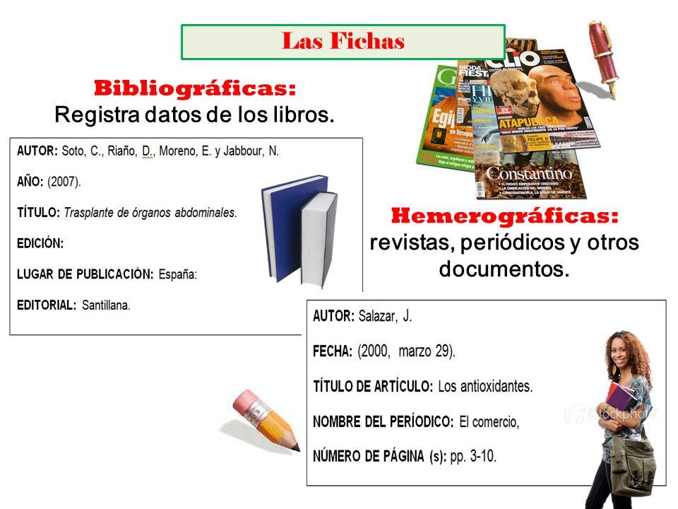 Registra datos de los libros. revistas, periódicos y otros documentos.