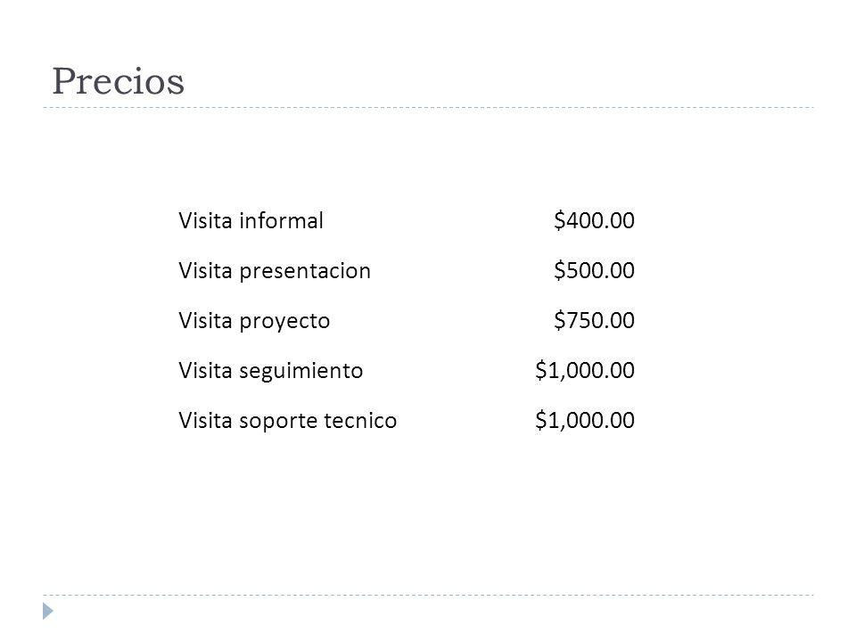 Precios Visita informal $400.00 Visita presentacion $500.00