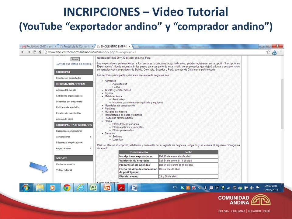 INCRIPCIONES – Video Tutorial (YouTube exportador andino y comprador andino )