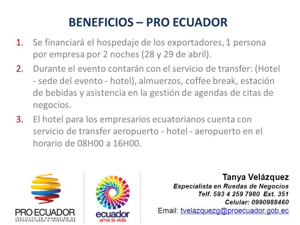BENEFICIOS – PRO ECUADOR