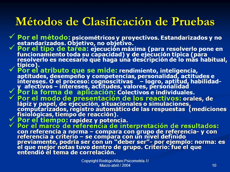 Métodos de Clasificación de Pruebas