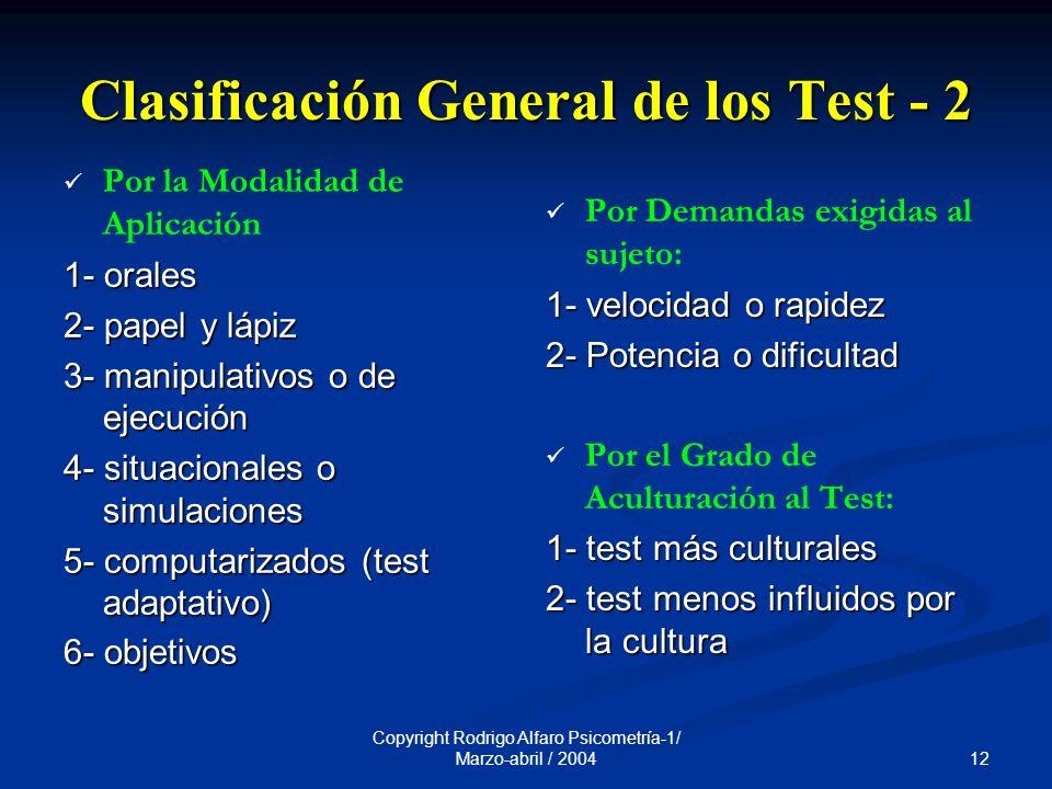 Clasificación General de los Test - 2