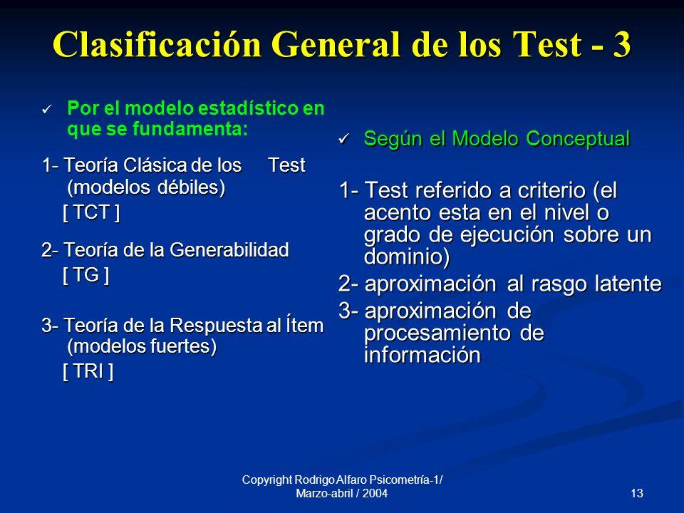 Clasificación General de los Test - 3