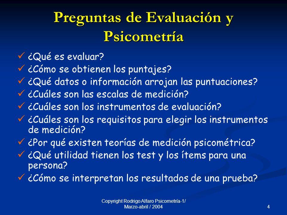 Preguntas de Evaluación y Psicometría