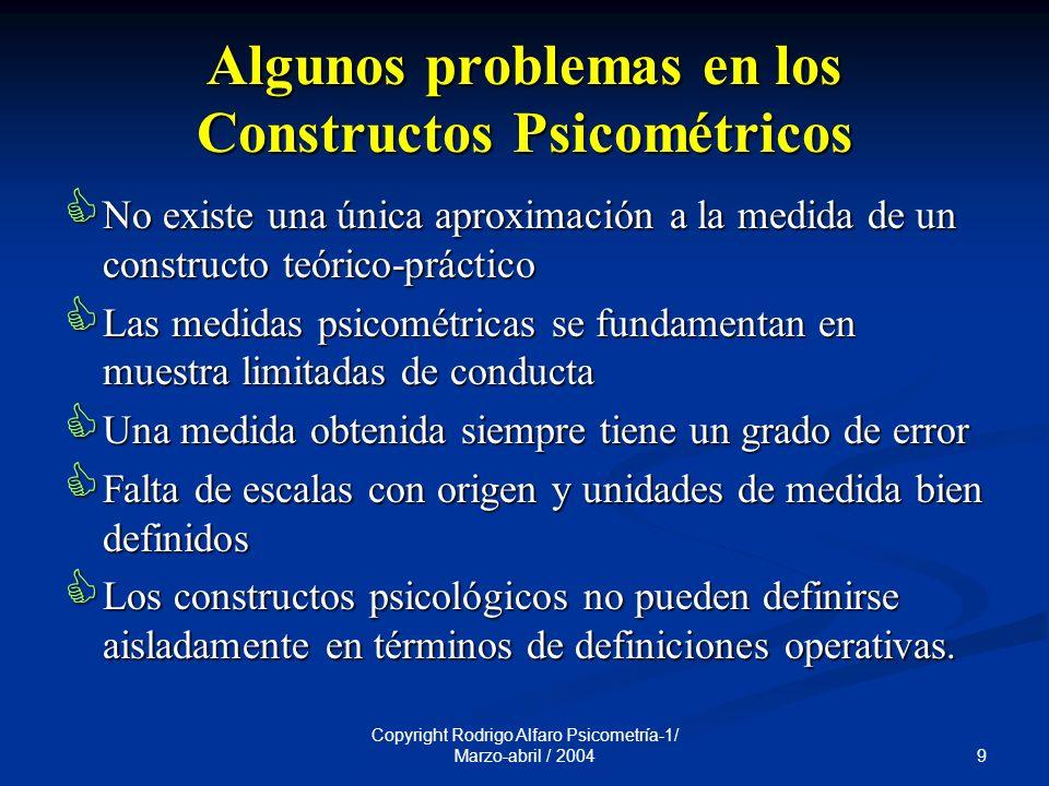 Algunos problemas en los Constructos Psicométricos