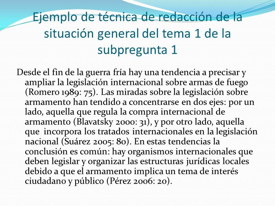 Ejemplo de técnica de redacción de la situación general del tema 1 de la subpregunta 1