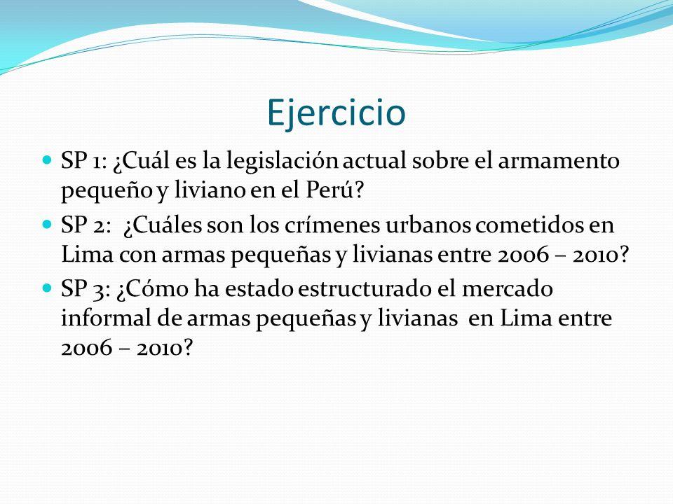 Ejercicio SP 1: ¿Cuál es la legislación actual sobre el armamento pequeño y liviano en el Perú