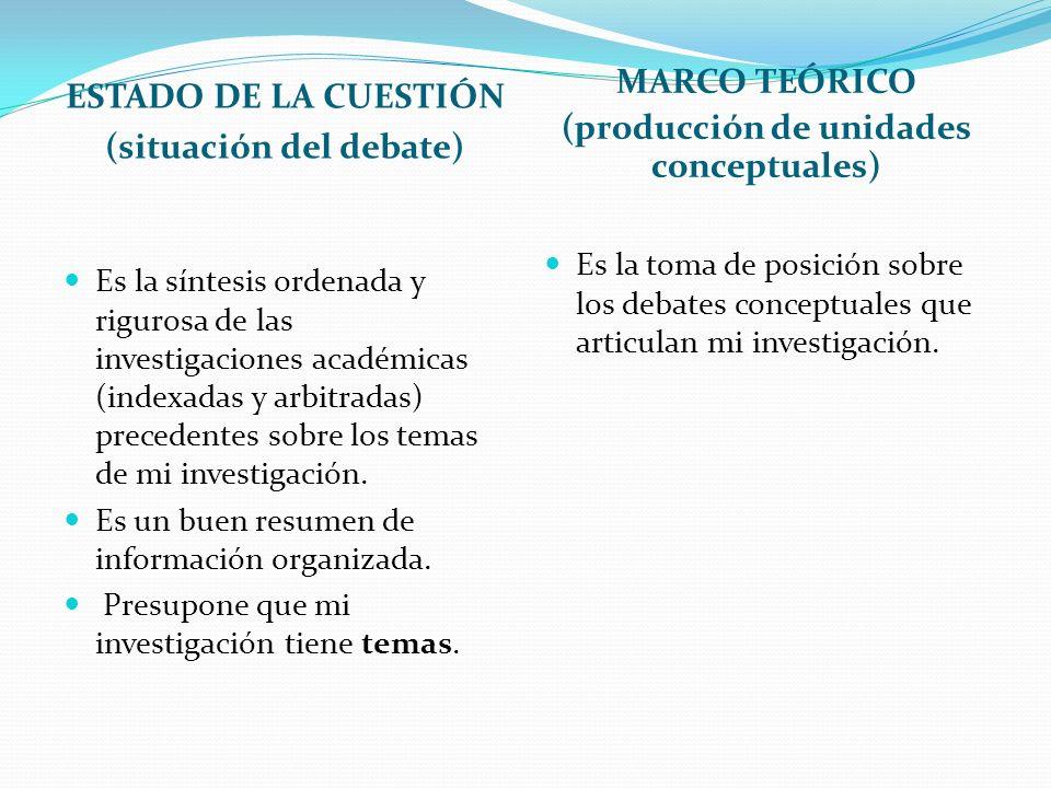 (situación del debate) (producción de unidades conceptuales)
