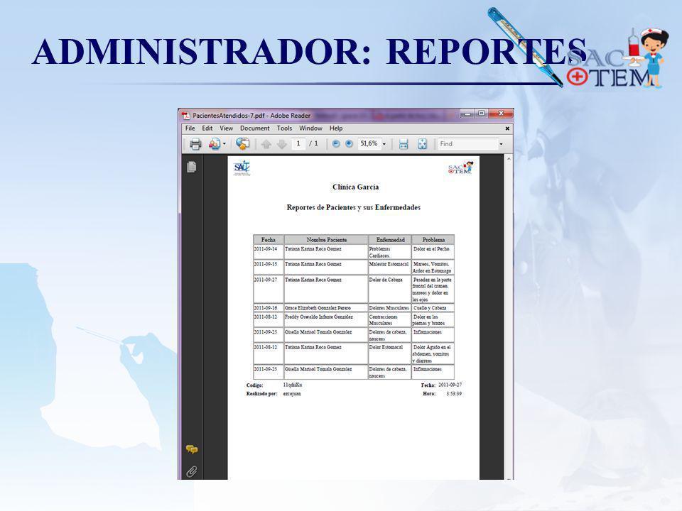 ADMINISTRADOR: REPORTES
