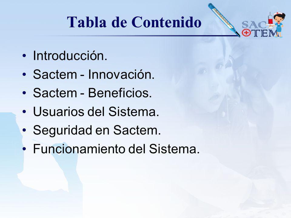 Tabla de Contenido Introducción. Sactem - Innovación.